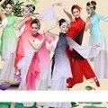 Trajes de dança mulheres luva folk tradicional chinesa ventilador de desempenho roupas hanfu traje nacional traje de dança para a mulher