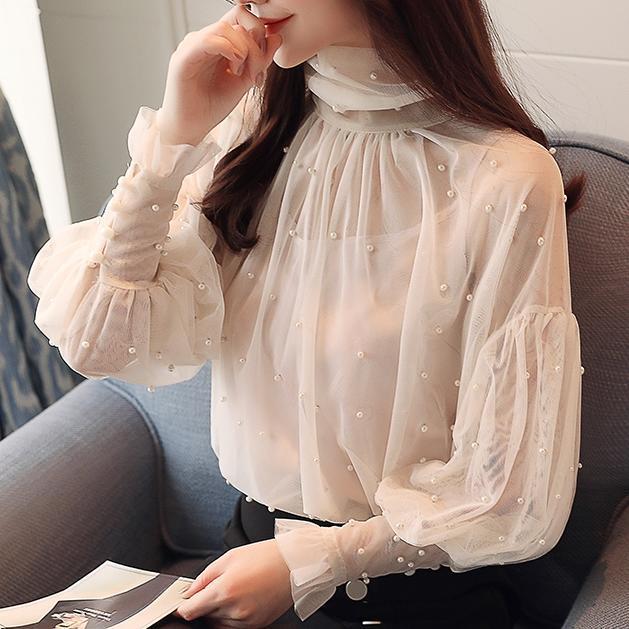 Plus Size 2XL Women Top lantern Sleeve Autumn Spring Blouse Beading Elegant Blouse Chiffon Pearl Shirt 2