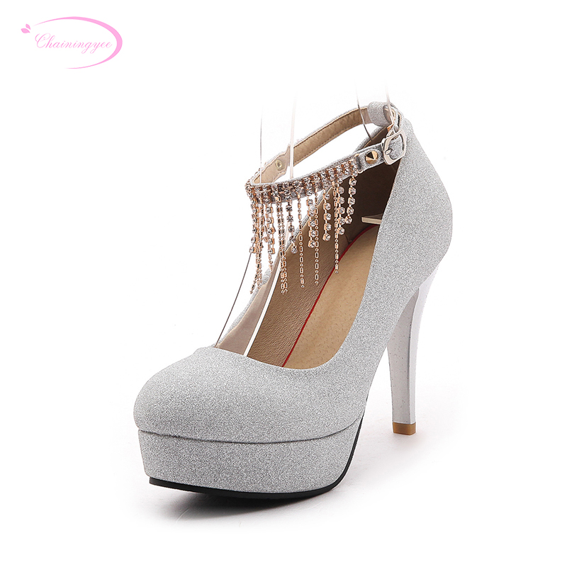 Chainingyee party style round toe pump fashion diamond chain belt buckle  platform black red gold silver high heels women s shoes-in Women s Pumps  from Shoes ... 910a4f5f3bbb