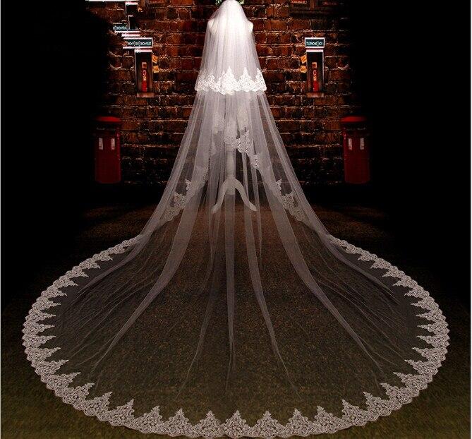 Белый Кот 3.5 М Два Слоя Три Метра Ширина 3.5 м * 3 м Длина Вышитые Блестками Кружева Свадебная Фата длинные Фата