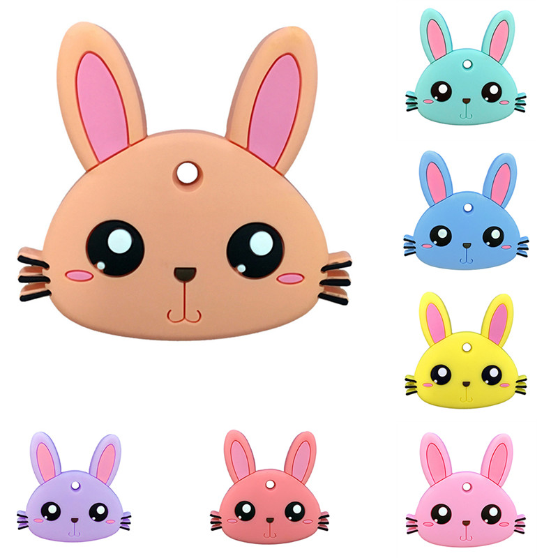 Children silicone gel teether Childrens silicone material rabbit teether
