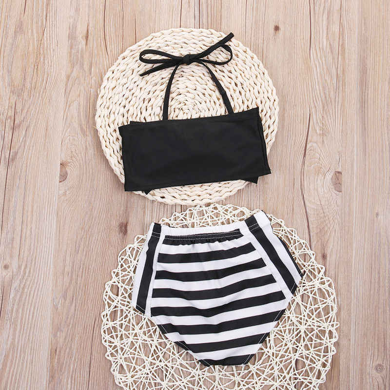 41a578ea14d70 ... 2-7Y Infant Toddler Baby Kids Girls Bikini Bow Set Swimwear Striped  Swimming Bathing Suit ...
