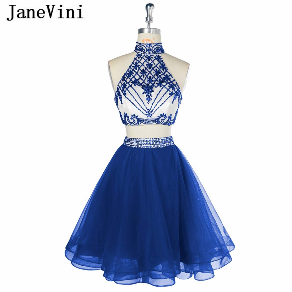 JaneVini Charming Royal Blue Short   Bridesmaid     Dresses   Two Piece   Dress   Crystal Beading Tulle A Line Girls Homecoming Party Gowns
