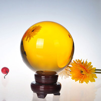 200mm Yellow Crystal Ball Feng shui Magic Glass Ball with wooden base Sphere Figurines Miniatures Ornaments For Gifts Home Decor