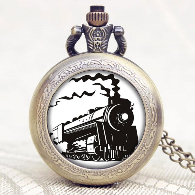 Old Antique Locomotive Loco Train Front Design Pocket Watch With Necklace Chain Best Gift For Children