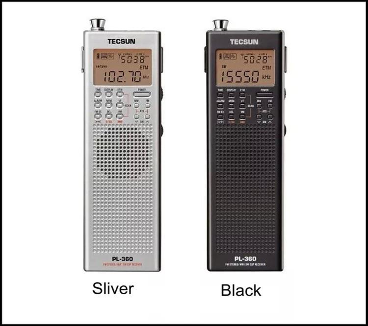 Original Tecsun PL 360 portable Radio numérique usb AM FM poche radio enregistreur à ondes courtes PLL DSP ETM SW MW LW récepteur pl-360 nouveau