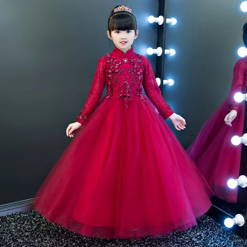 Autumn Winter New Hot-sales Children Kids Flowers Princess Lace Birthday Holiday Party Dress Girls Teenagers Pageant Long Dress children wear new autumn winter girls princess dress suit kids clothing red silk with jackets mesh flowers