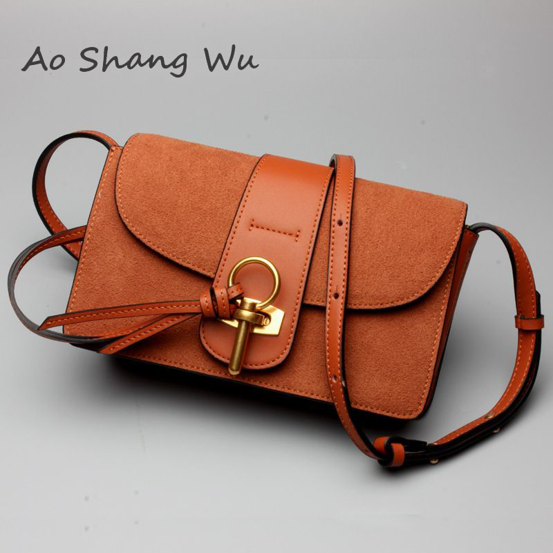 New arrival genuine cow leather metal ring  small flap bag solid color crossbody shoulder bag ip телефон panasonic kx tca285ru