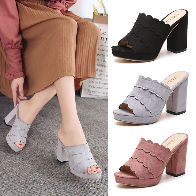 4b5526001cdca ... flock peep toe platform sandals women ruffles thick heel sandals ladies  roman gladiator sandals summer high ...
