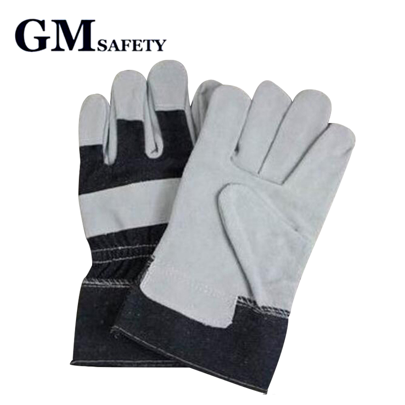 Leather welder's gloves work gardening gloves hands protective gloves free size C91415 oil free comfortable cheap nitrile gloves white nylon knitted hands protection gloves white mechanic construction industry