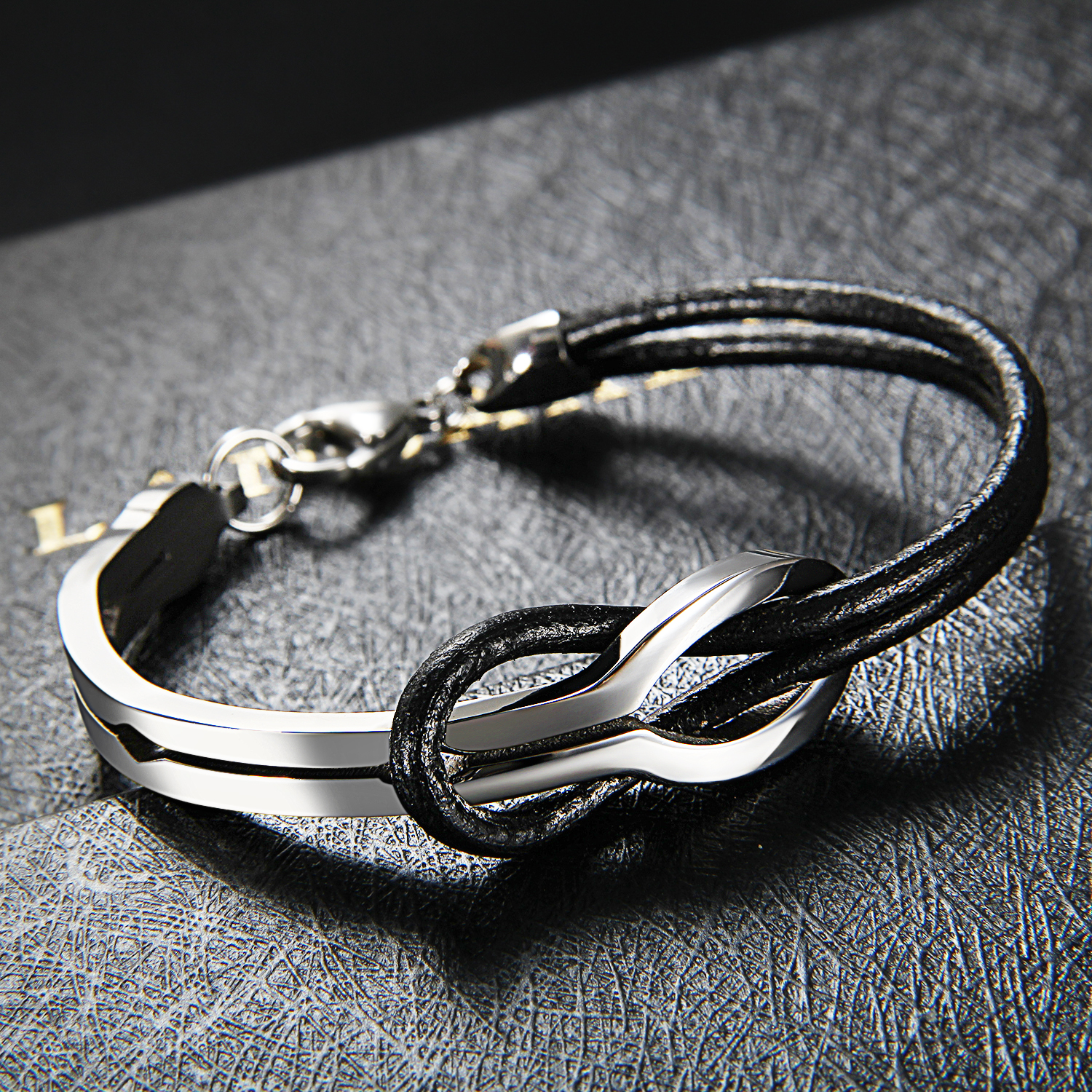 Cool Men Infinity Stainless Steel Leather Bracelet