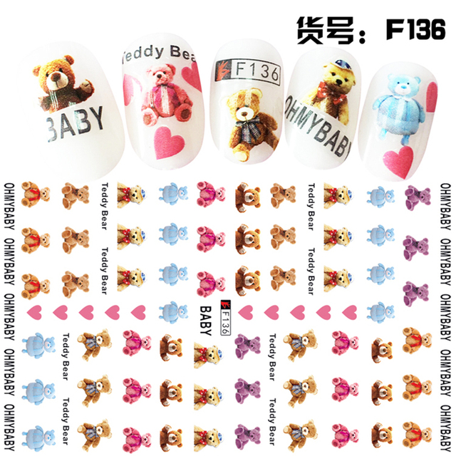 3 Sheets Teddy Bear Nail Decal Design Thin Adhesive Beauty Decals Art Decorations Stickers