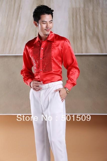 Envío gratis prince etapa lentejuelas decoración mens smoking camisetas camisas del partido/evento camisas de rendimiento de baile latino