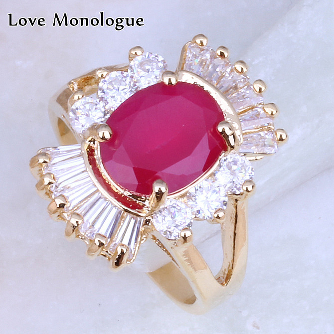 Love Monologue Noble Red Crystal & White Cubic Zirconia Yellow Gold Color Rings Wedding for Women H0044 Free Shipping