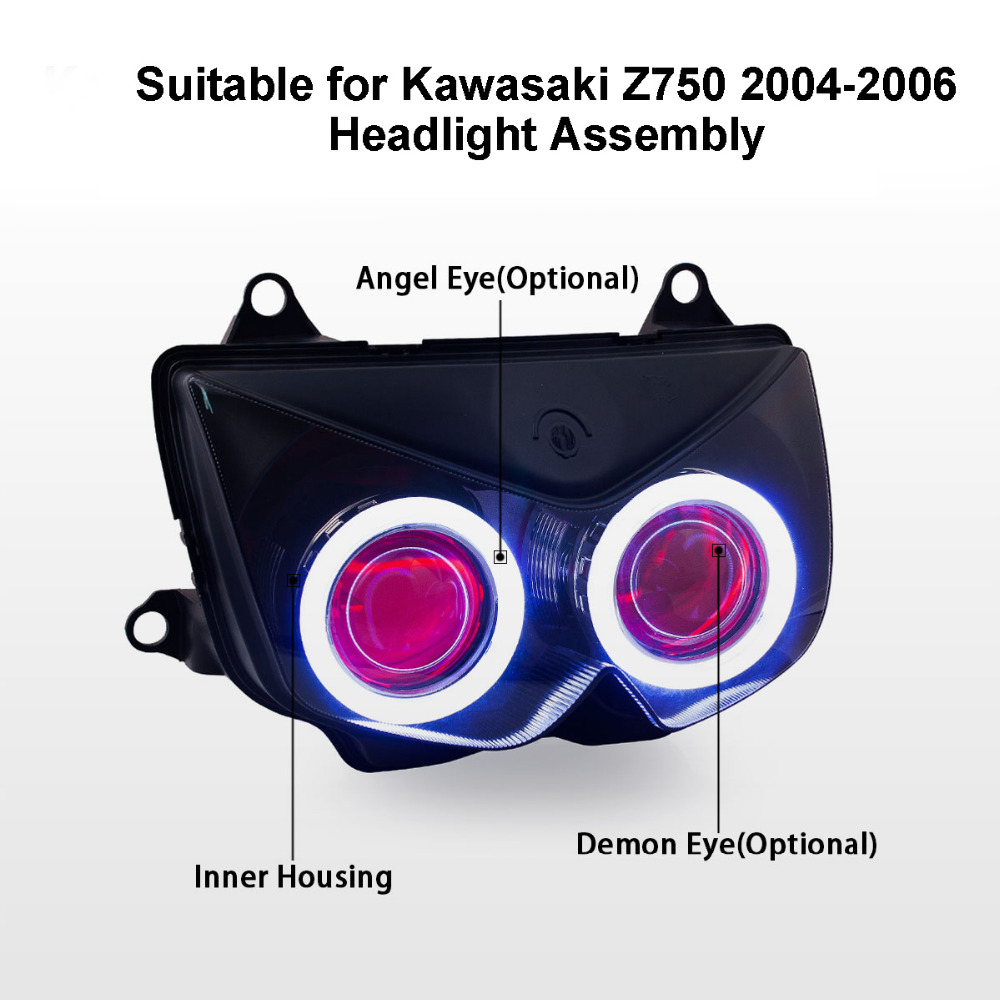 KT Headlight for Kawasaki Z750 2004 2006 LED Angel Eye Red Demon Eye Motorcycle HID Projector kt headlight for kawasaki z750 2004 2006 led angel eye red demon Wiring Harness Diagram at fashall.co