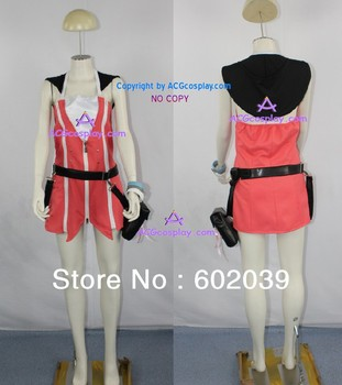 Kingdom Hearts 2 Kairi cosplay costume pink dress include the bag and bracelet prop