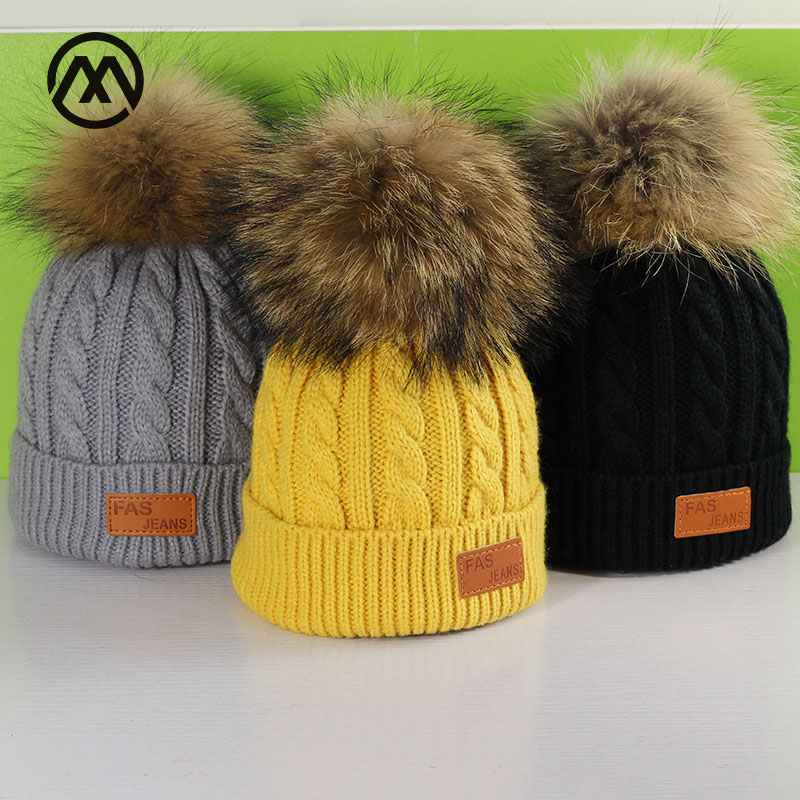 Children's Winter New Knit Hats Raccoon Leather Hair Ball Warm Comfortable Boy Girl Pompoms Loose Caps Thickening Slouchy Beanie