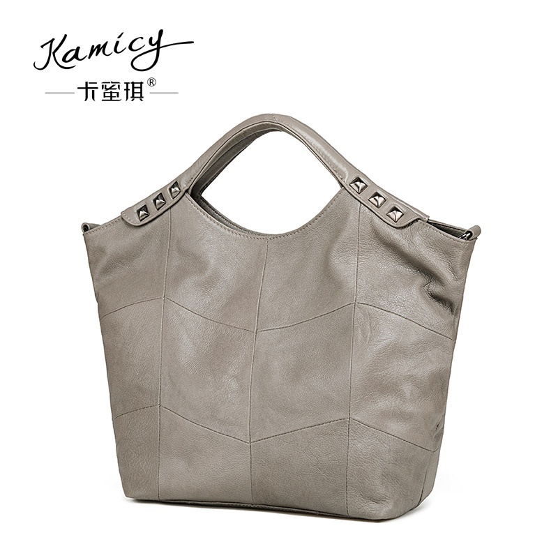 2018 Genuine Leather Bamboo Women Handbag Fashion Shoulder bags Rivets adornment big bag summer Women's messenger bag cys8893 cute pekingese style car adornment bamboo charcoal bag beige brown