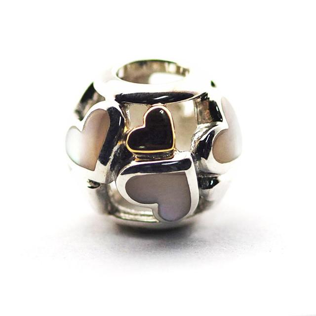 Nueva Original Forma Encantos de Pandora Pulsera DIY Perlas de Plata de Ley 925 Luminoso Corazón Granos Del Encanto para La Joyería Que Hace Al Por Mayor