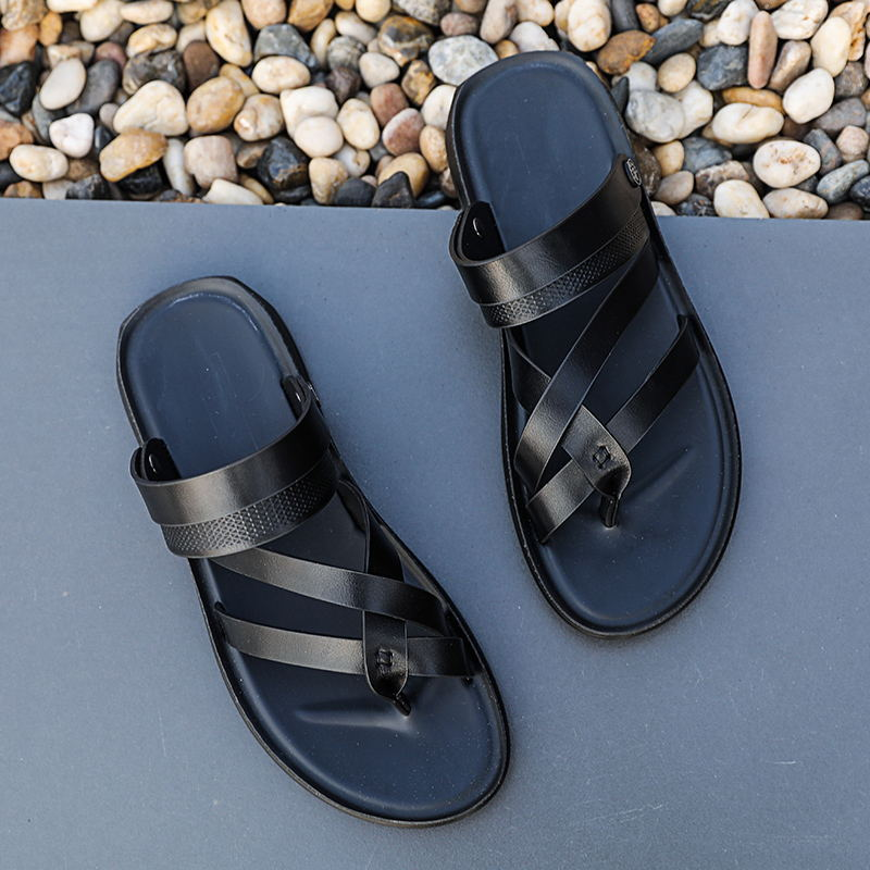 MIUBU New Outdoor Fashion Men Sandals Summer Men Shoes Sandals Men Slippers Summer Casual Leather Flat Shoes Beach Breathable in Men 39 s Sandals from Shoes