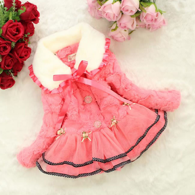 1Pc Winter Baby Girls Flowers Dot Bow Faux Fur Coats -8138