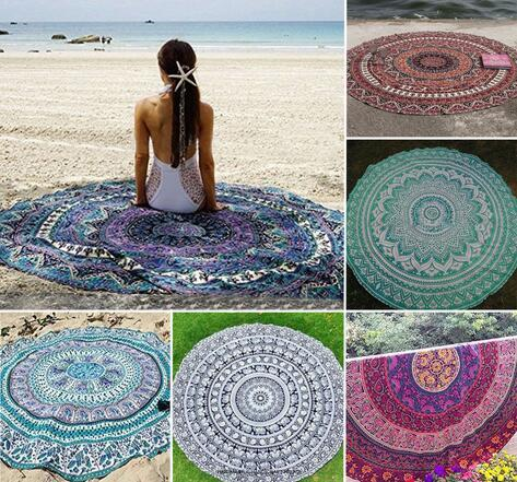 Round Beach Towel 150cm superfine fiber from $17.95 Picnic Blanket, Beach Towel or Wall Hanging.