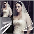 Hot Sale Cheap 2015 In Stock One Layer Ribbon Edge White Bridal Veils Wedding Veils Bridal Accessories