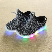 New Children Luminous Shoes Girls Boys Running Sneakers Baby Flashing Lights Sports Shoes with LED Light Sneakers  Size 21-36 2017 new baby kids 7 color led light sneakers girls boys usb charge luminous shoe children sports running shoes size 25 37