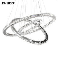 Modern LED Crystal Chandeliers Lights For Dining Living Room Suspension Luminaire Lamp 3 Rings For 15