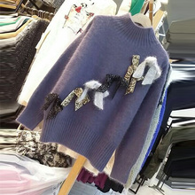 Women Fashion Sequined Bow Stitching Turtleneck Pullover Sweater 2017 Lady Loose Knit Purple Tops Students Sweet Basic Sweaters