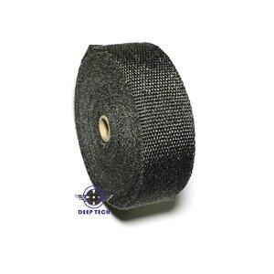 """Image 2 - 15 メートル黒排気ラップターボ熱マニホールドヘッダオートバイ排気ラップテープバイク排気グラスファイバーテープ 2 """"× 50ft"""