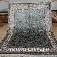 Yilong 5.5'x8' Hereke carpet rectangle vantage blue turkish rugs for sale silk (0790)