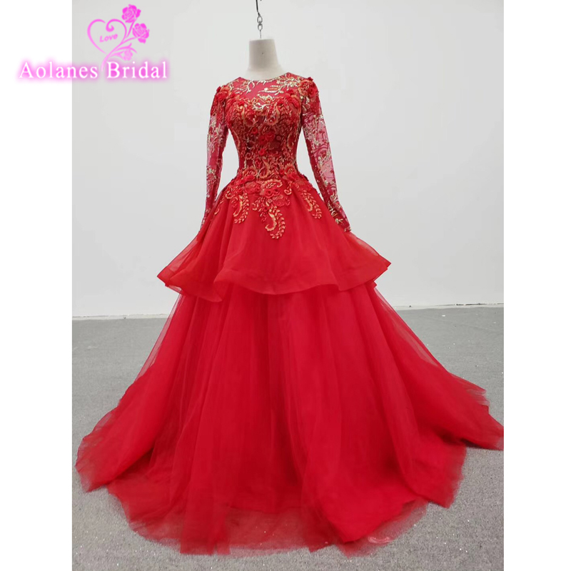 Elegant Long Red   Prom     Dresses   Full Sleeves Sweetheart ALINE Gown Red Gold Lace Applique Tulle Ladies Evening Gown