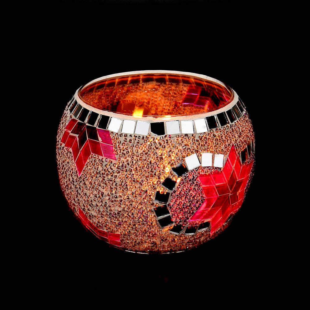 Мозаичный стеклянный подсвечник ручной работы, свадебные украшения, реквизит, подарки