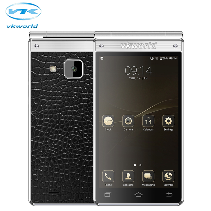 Original VKworld T2 PLUS Flip Dual Screen Mobile Phone 4.2inch 3GB RAM 32GB ROM MT6737 Quad Core Android 7.0 13.0MP Smartphone