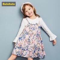 Balabala 2 pcs/set clothes set for girl children clothe long white flare sleeve tshirt + Floral braces dresses for toddler girls