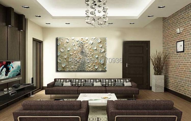 Fabriek Prijs Aanbieding Beste Kwaliteit Nieuw Ontwerp Art Handgemaakte Mes Pauw Olieverfschilderij voor Home Hotel Wanddecoratie - 3