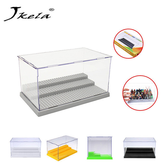 [New] Display Case/Box Dustproof ShowCase Gray Base For Blocks Acrylic Plastic Building Block Display Box Gifts For Boys