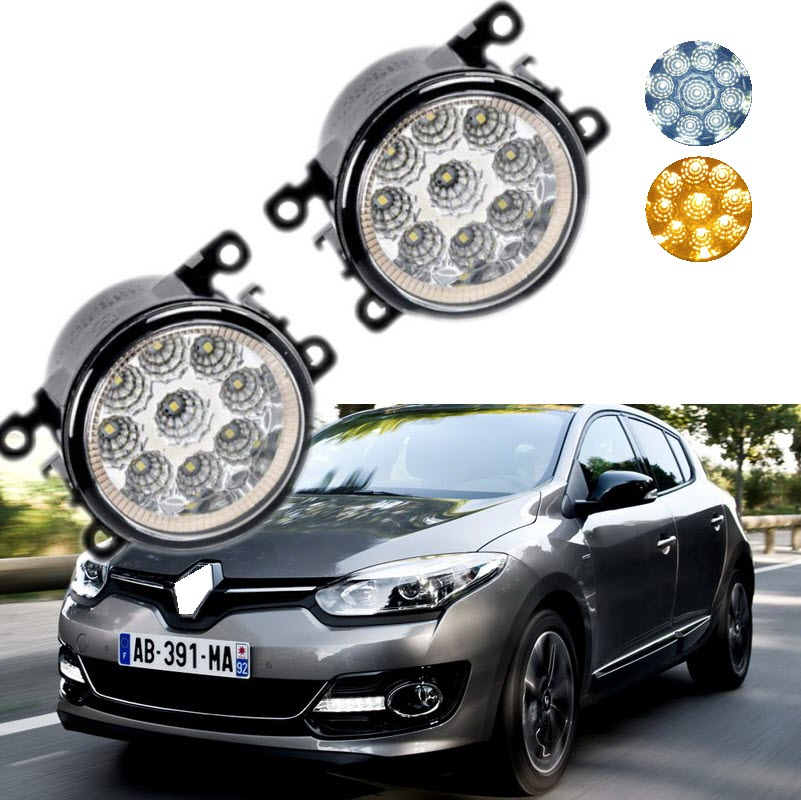 For Renault Megane 2008-2017 9-Pieces Leds Chips LED Fog Light Lamp H11 H8 12V 55W Halogen Fog Lights auxmart triple row led chips 12 led