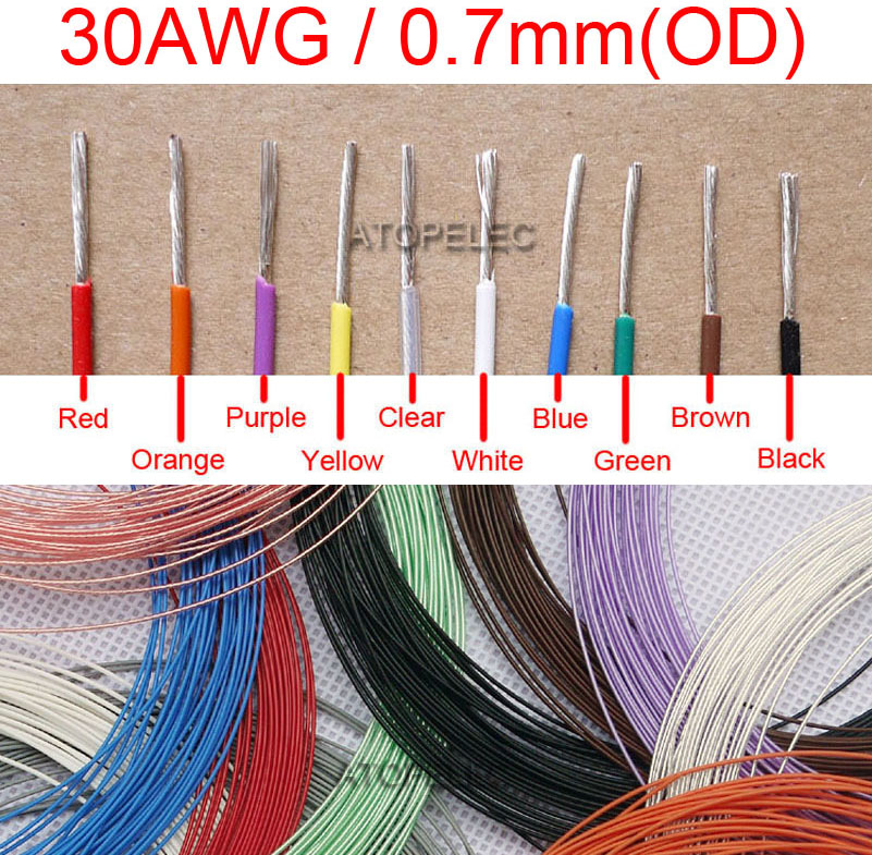 30AWG 0.7mm OD F4 PTFE Silver Plated OFC Wire 300V Teflon Cable ...