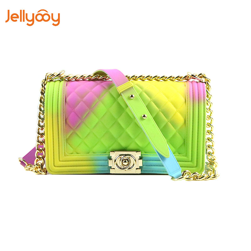 Jellyooy Beachkins New Fashion Girl Messenger Bag PVC Chic Colorful Matte Jelly Chain Bags Luxury Handbags Women Bags Designer