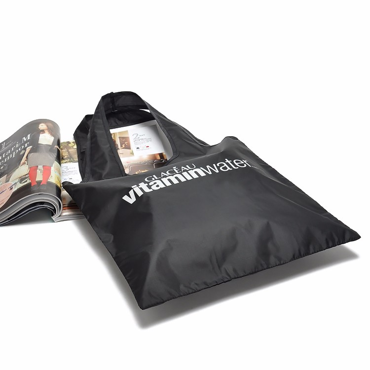 Custom Reusable Bags Nylon Black Grocery Totes Promotional Shopping Bags 11