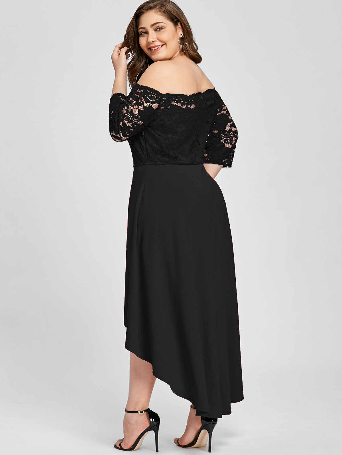 ... Wipalo Women Party Dress Plus Size Off Shoulder Dip Hem Lace 3 4 Length  Sleeves ... b1ab8bafadde