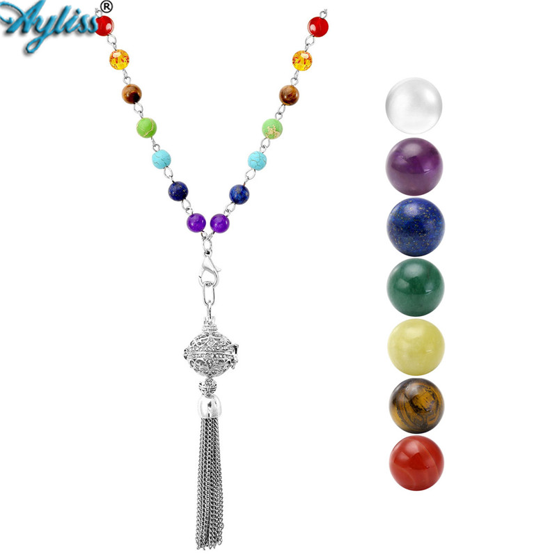 Ayliss New White-k Plated Locket Pendant Chakra Healing Crystal Necklace&16mm 7 Chakra Round Natural Stone Beads with Gift Box 2017 ayliss fashion 1pc chakra gem stone tree of life wire wrapped natural clear quartz healing crystal point pendant necklace