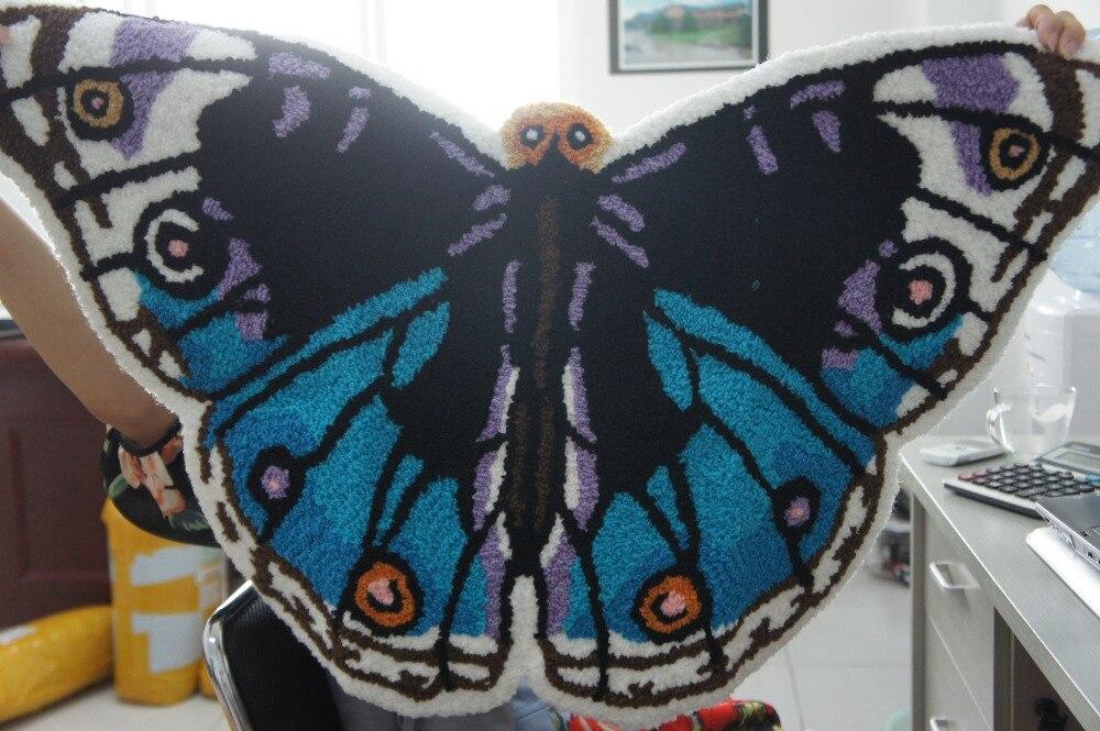 Embroidery Blue Area Rugs Butterfly Rug Bedroom Mat Slip Resistant Carpet  Handmade Carpet Doormat Bath Mat Bedroom Rug 50*80cm In Mat From Home U0026  Garden On ...