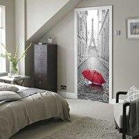 3D Self Adhesive Bedroom Wall Stickers 3D Door Sticker Paris Eiffel Tower Waterproof Decal Wall Home