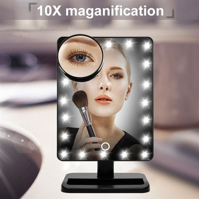 Adjustable 20 LEDs Lighted Makeup Mirror Touch Screen Portable Magnifying Vanity Tabletop Lamp Cosmetic Mirror Make Up Tool 360 degrees led touch screen mirrors women make up cosmetics mirror with illumination table leds lighted vanity mirror dropship