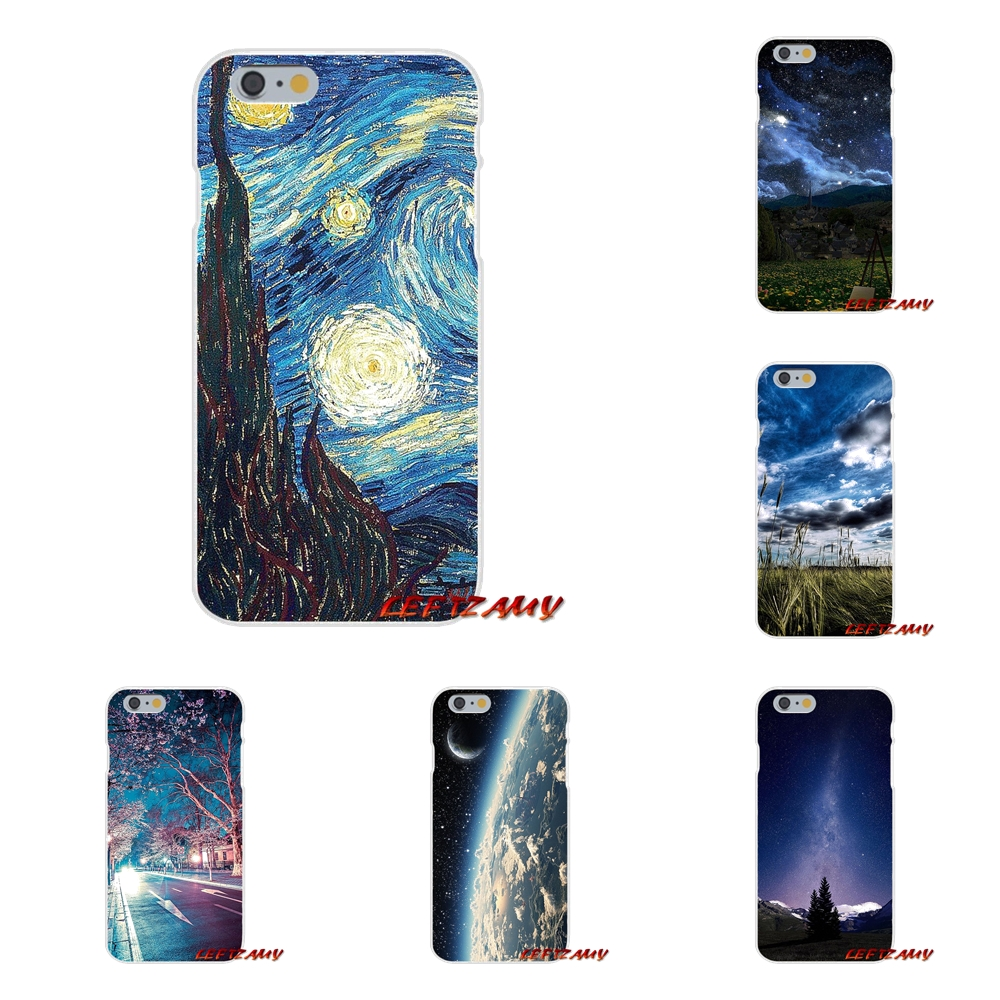 Silicone Phone Shell Cover Starry Night Grass Field Mountains For Huawei P8 P9 P10 Lite 2017 Honor 4C 5X 5C 6X Mate 7 8 9 10 Pro
