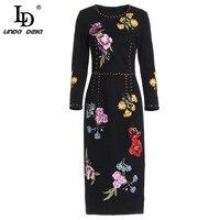 LD LINDA DELLA Spring Fashion Runway Vintage Dress Women's Long Sleeve Floral Embroidery Midi Pencil Dress vestido
