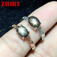 Women Natural Star Sapphire Stone Ring Genuine Solid Silver White Gold Plate Or Rose Gold Plated Real Gems Jewelry Rings ZHHIRY